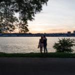 Riverside park engagement shoot